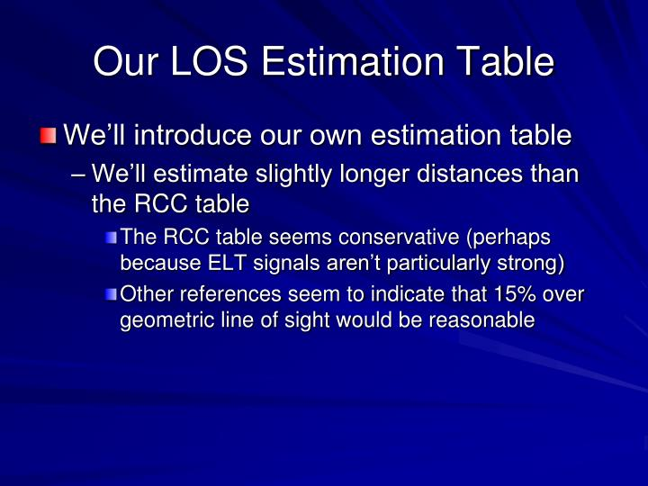 Our LOS Estimation Table