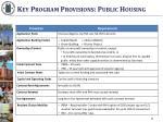 key program provisions public housing