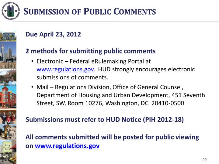 Submission of Public Comments
