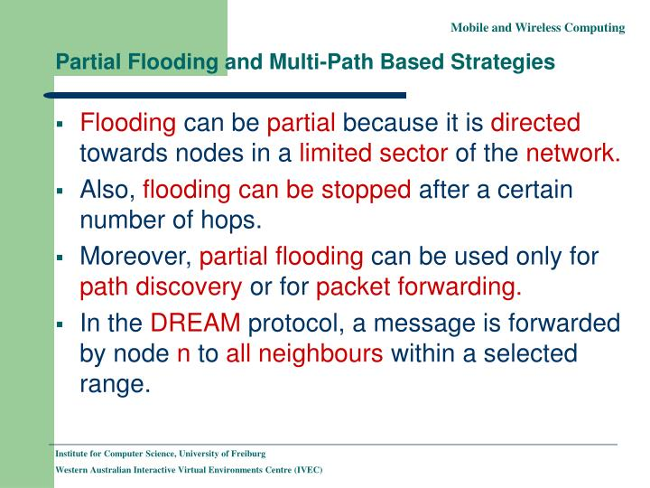 Partial Flooding and Multi-Path Based Strategies