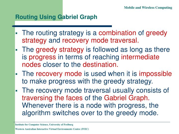 Routing Using Gabriel Graph