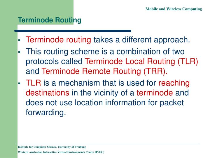 Terminode Routing