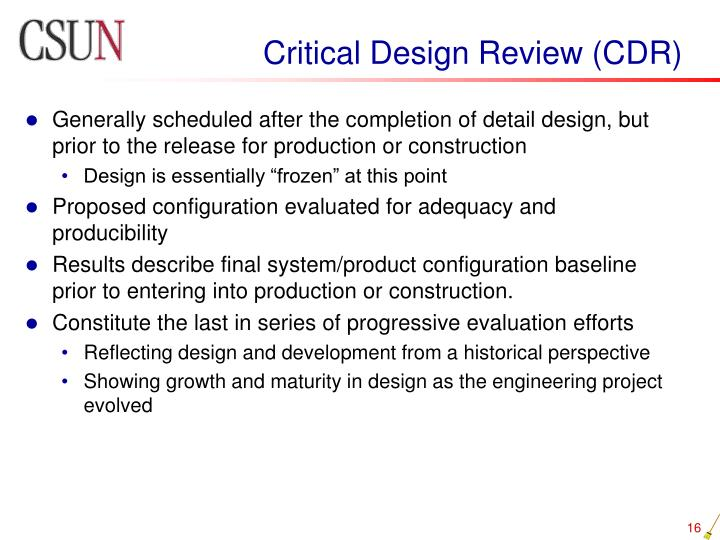 Critical Design Review (CDR)