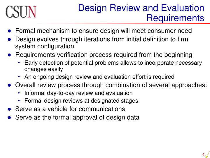 Design Review and Evaluation Requirements