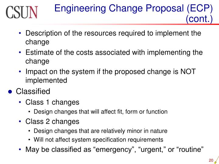 Engineering Change Proposal (ECP) (cont.)