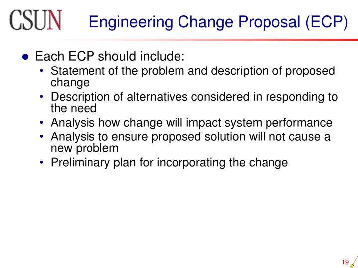 Engineering Change Proposal (ECP)