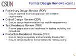 formal design reviews cont