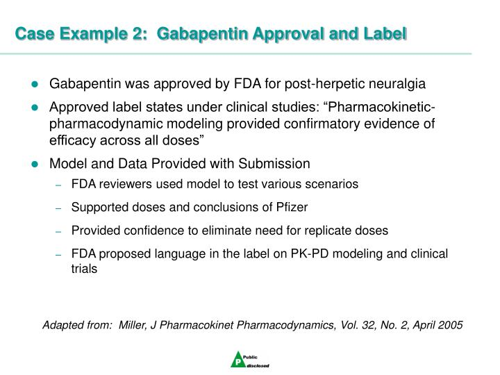 Case Example 2:  Gabapentin Approval and Label