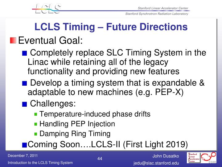 LCLS Timing – Future Directions