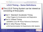 lcls timing some definitions