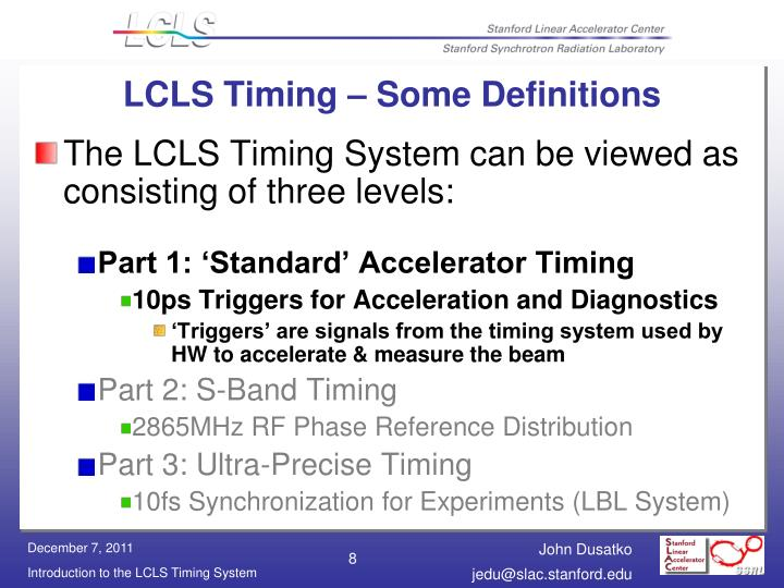LCLS Timing – Some Definitions