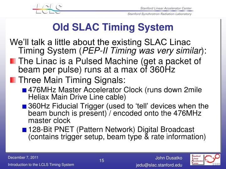 Old SLAC Timing System