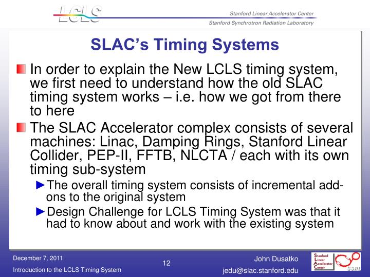 SLAC's Timing Systems