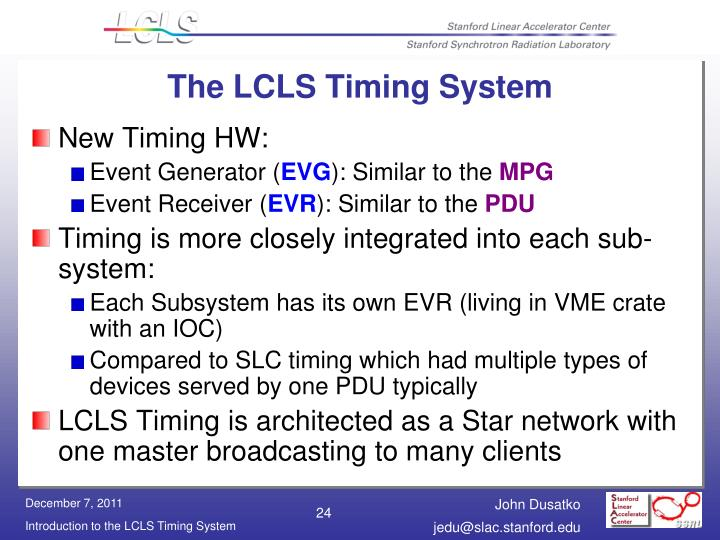 The LCLS Timing System