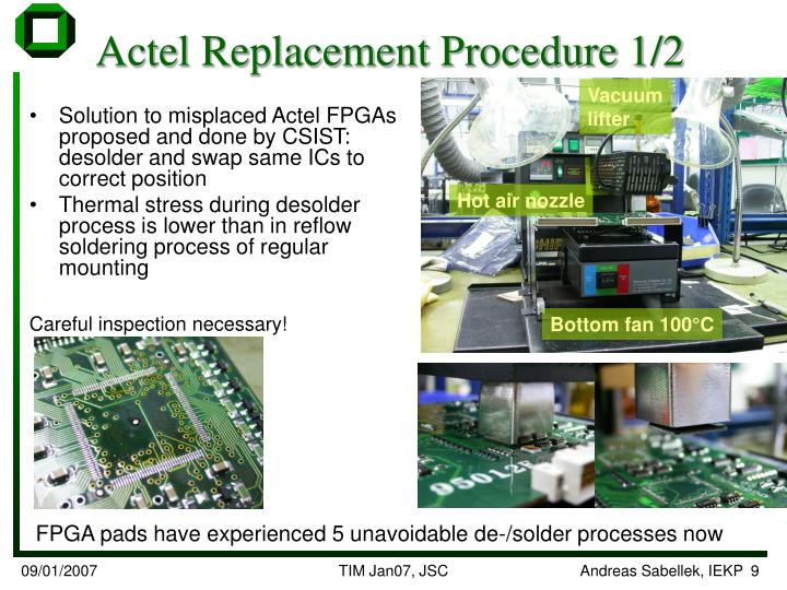 Actel Replacement Procedure 1/2