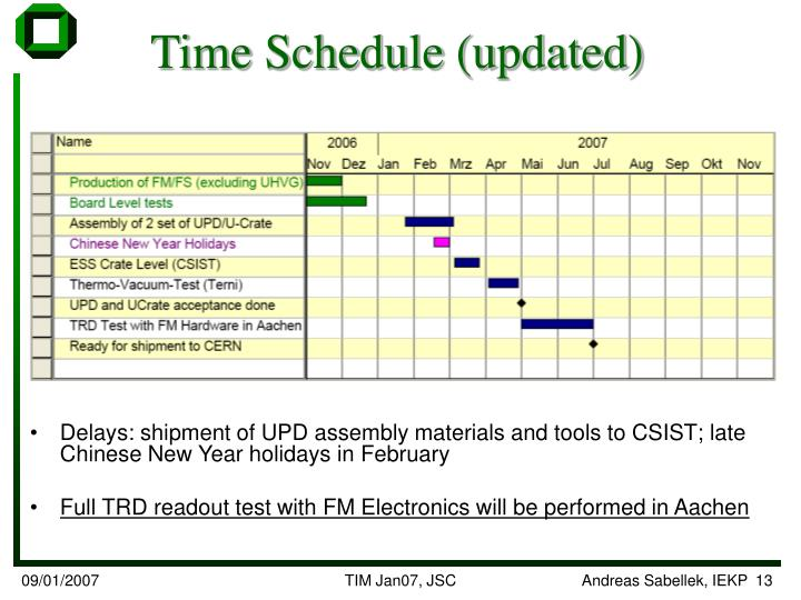 Time Schedule (updated)