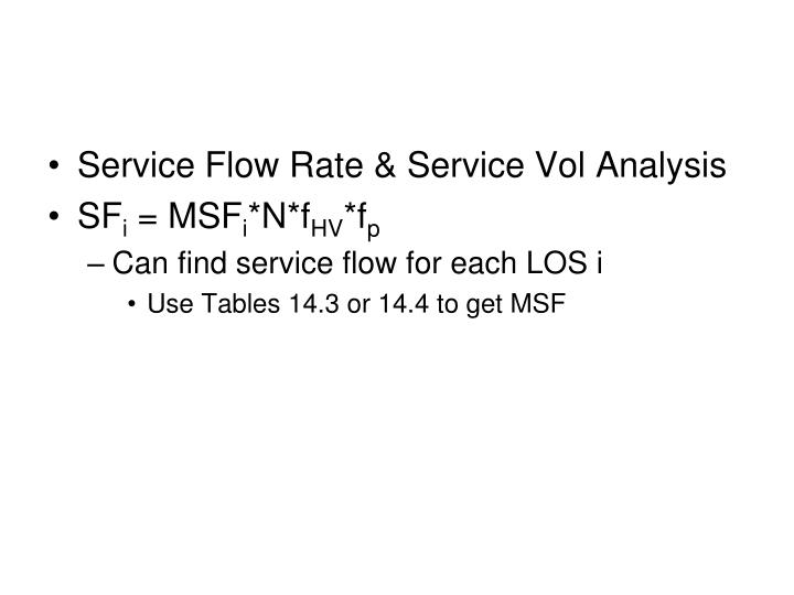 Service Flow Rate & Service Vol Analysis