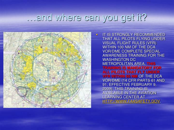 IT IS STRONGLY RECOMMENDED THAT ALL PILOTS FLYING UNDER VISUAL FLIGHT RULES (VFR) WITHIN 100 NM OF THE DCA VOR/DME COMPLETE SPECIAL AWARENESS TRAINING FOR THE WASHINGTON DC METROPOLITAN AREA,
