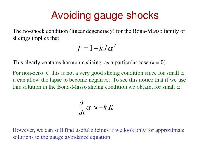 Avoiding gauge shocks