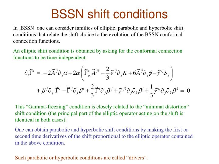 BSSN shift conditions
