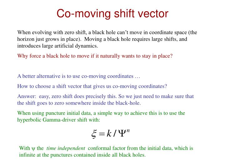 Co-moving shift vector