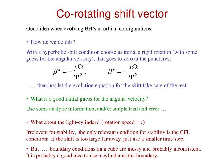 Co-rotating shift vector