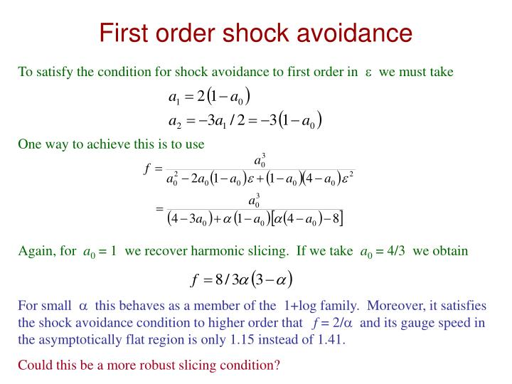 First order shock avoidance