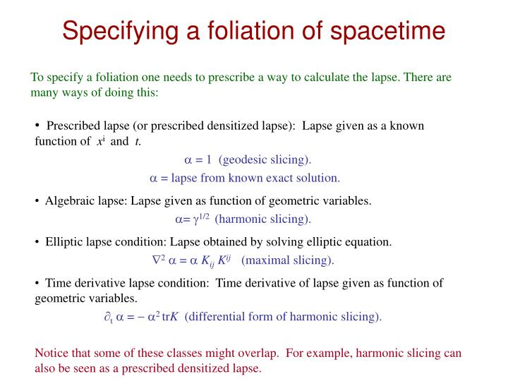 Specifying a foliation of spacetime