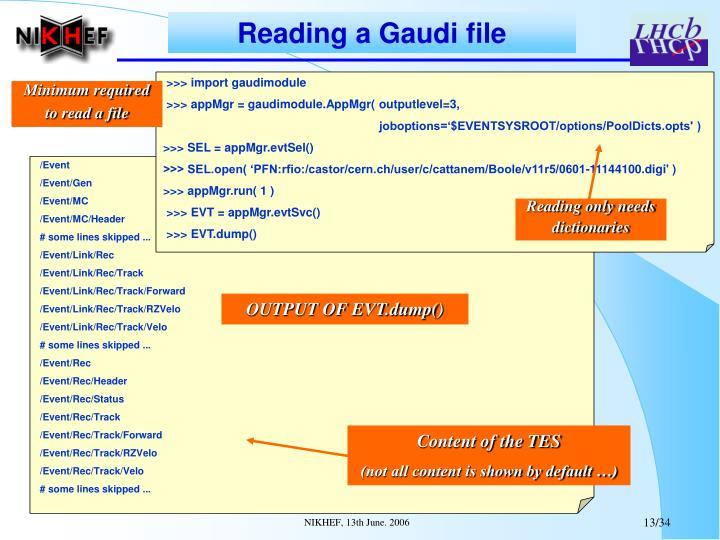 Reading a Gaudi file