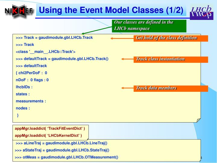 Using the Event Model Classes (1/2)