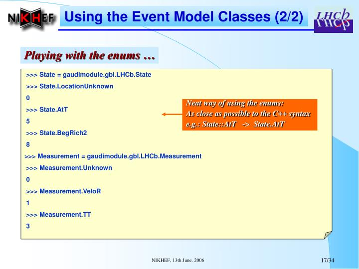 Using the Event Model Classes (2/2)