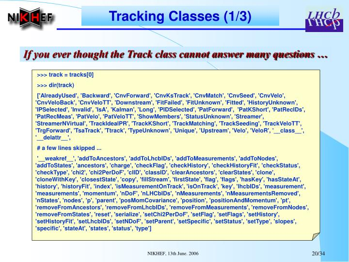 Tracking Classes (1/3)