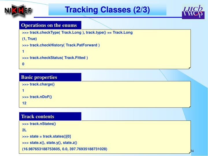 Tracking Classes (2/3)