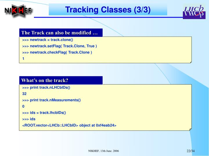 Tracking Classes (3/3)