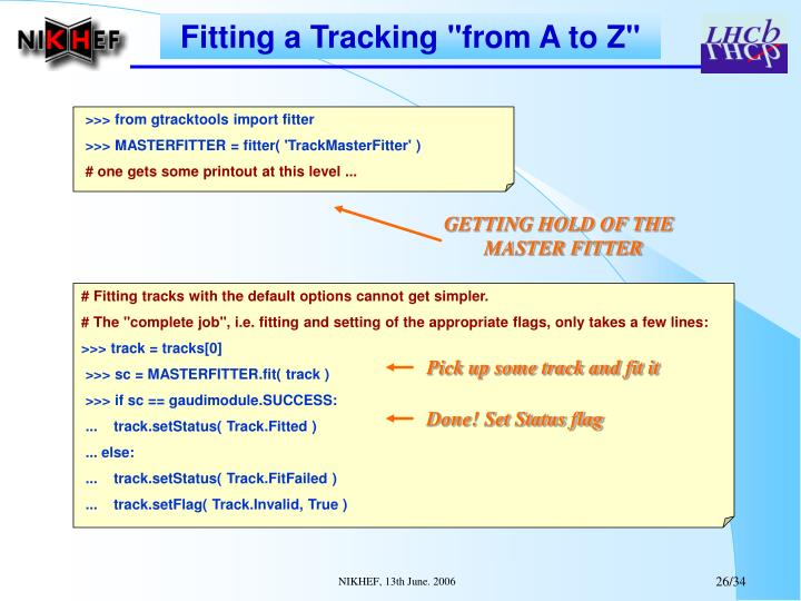 Fitting a Tracking