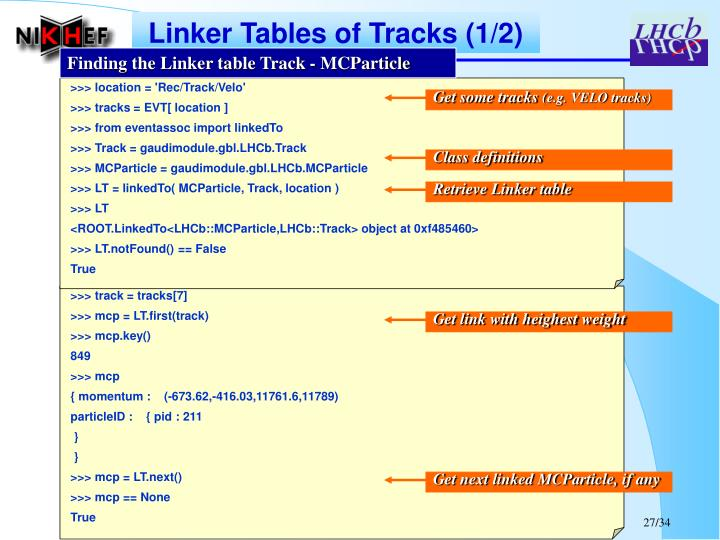 Linker Tables of Tracks (1/2)