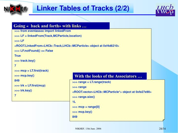 Linker Tables of Tracks (2/2)