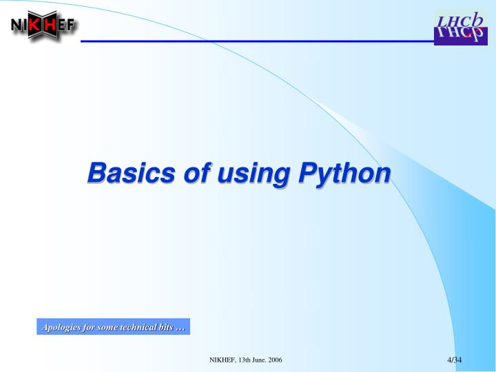 Basics of using Python
