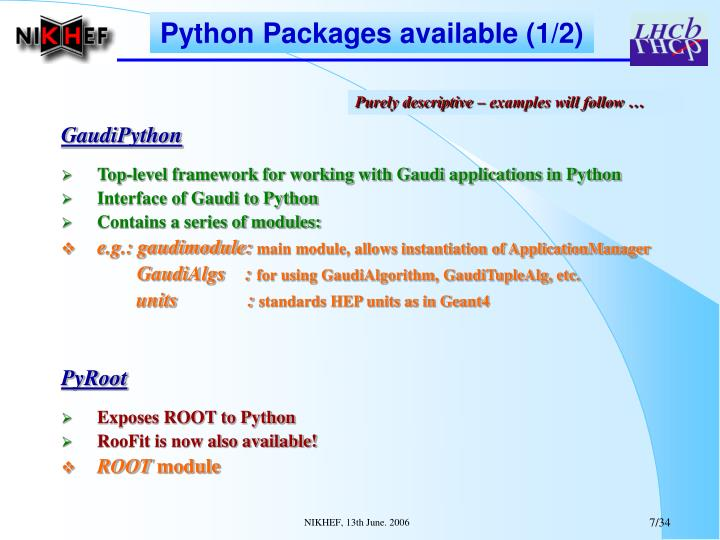 Python Packages available (1/2)
