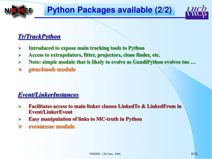 Python Packages available (2/2)