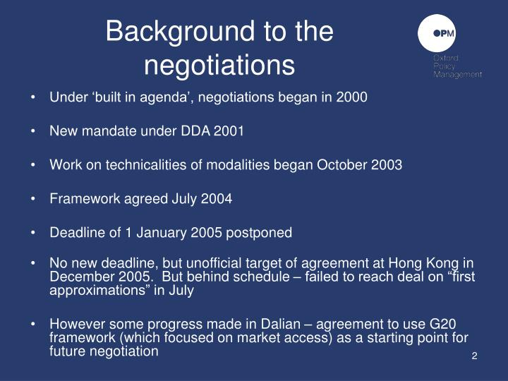 Background to the negotiations
