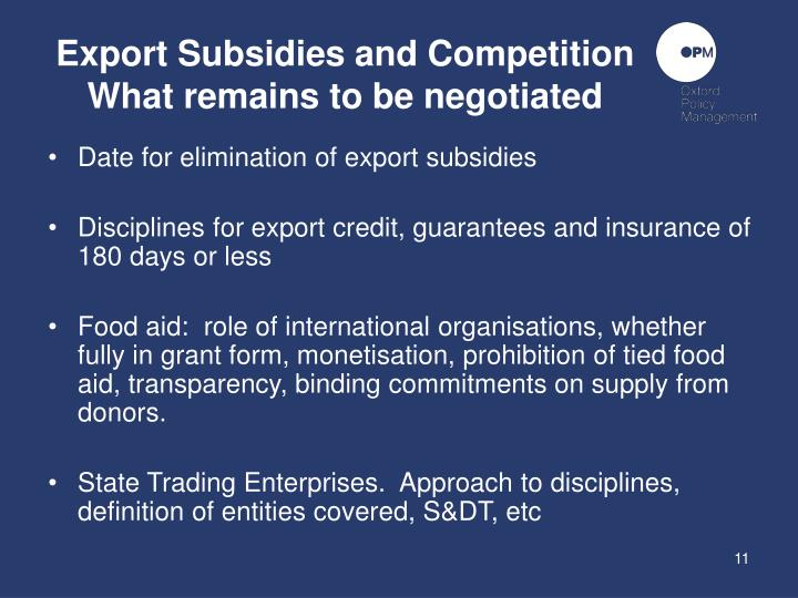 Export Subsidies and Competition