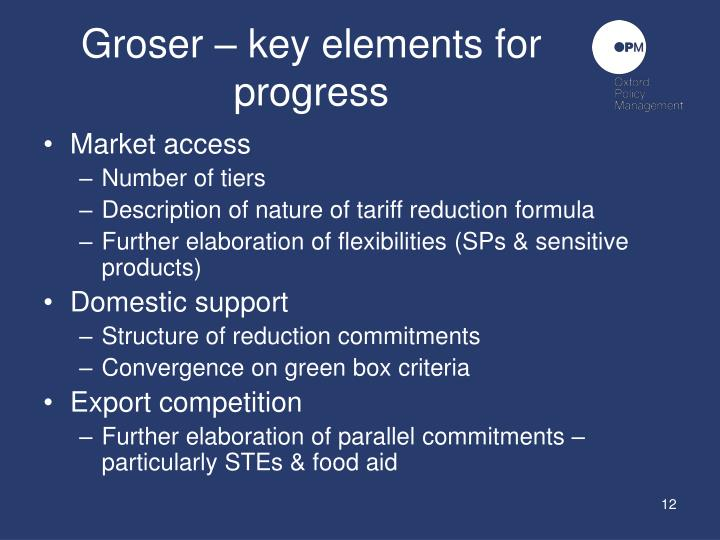 Groser – key elements for progress