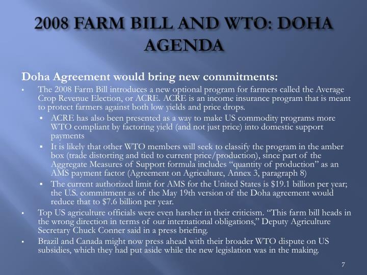 2008 FARM BILL AND WTO: DOHA AGENDA