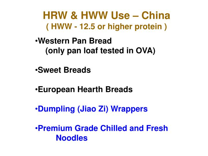 HRW & HWW Use – China