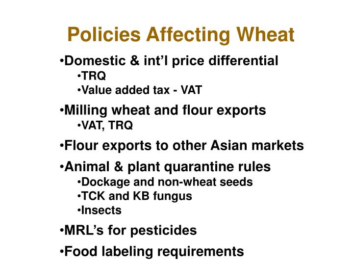 Policies Affecting Wheat