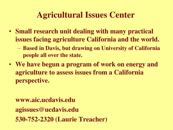 Agricultural issues center