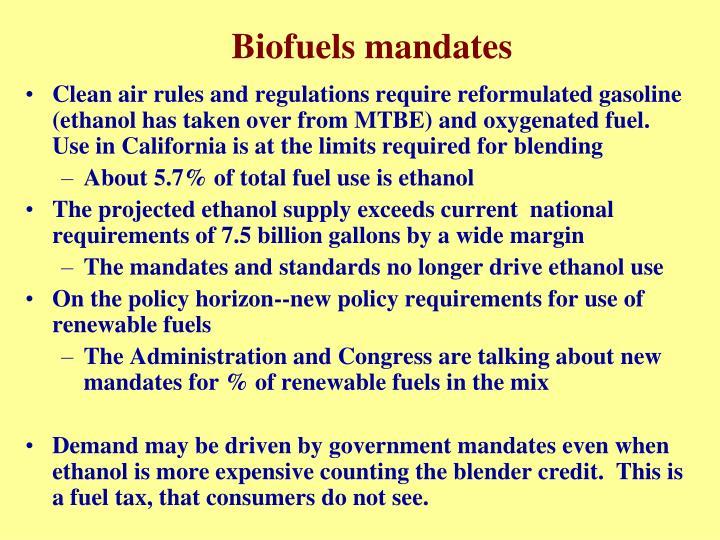 Biofuels mandates