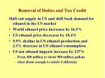 removal of duties and tax credit
