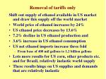 removal of tariffs only